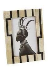 Antiqued bone with black pattern frame 4x6
