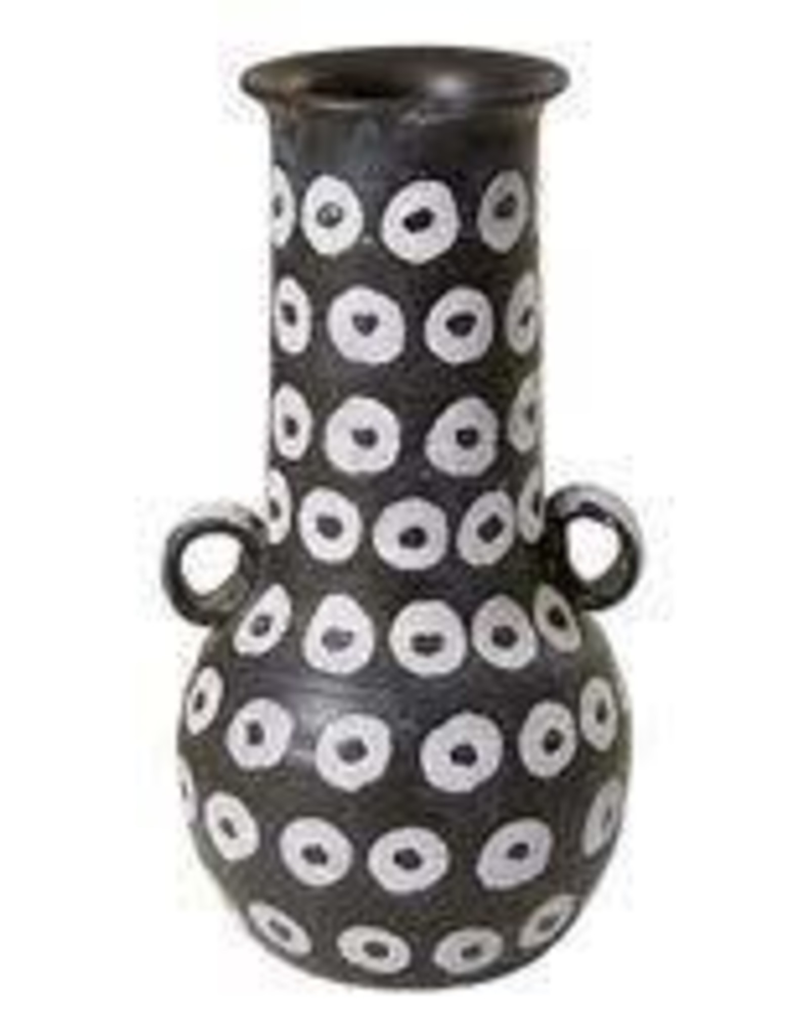 Tall Black Vase with white rings