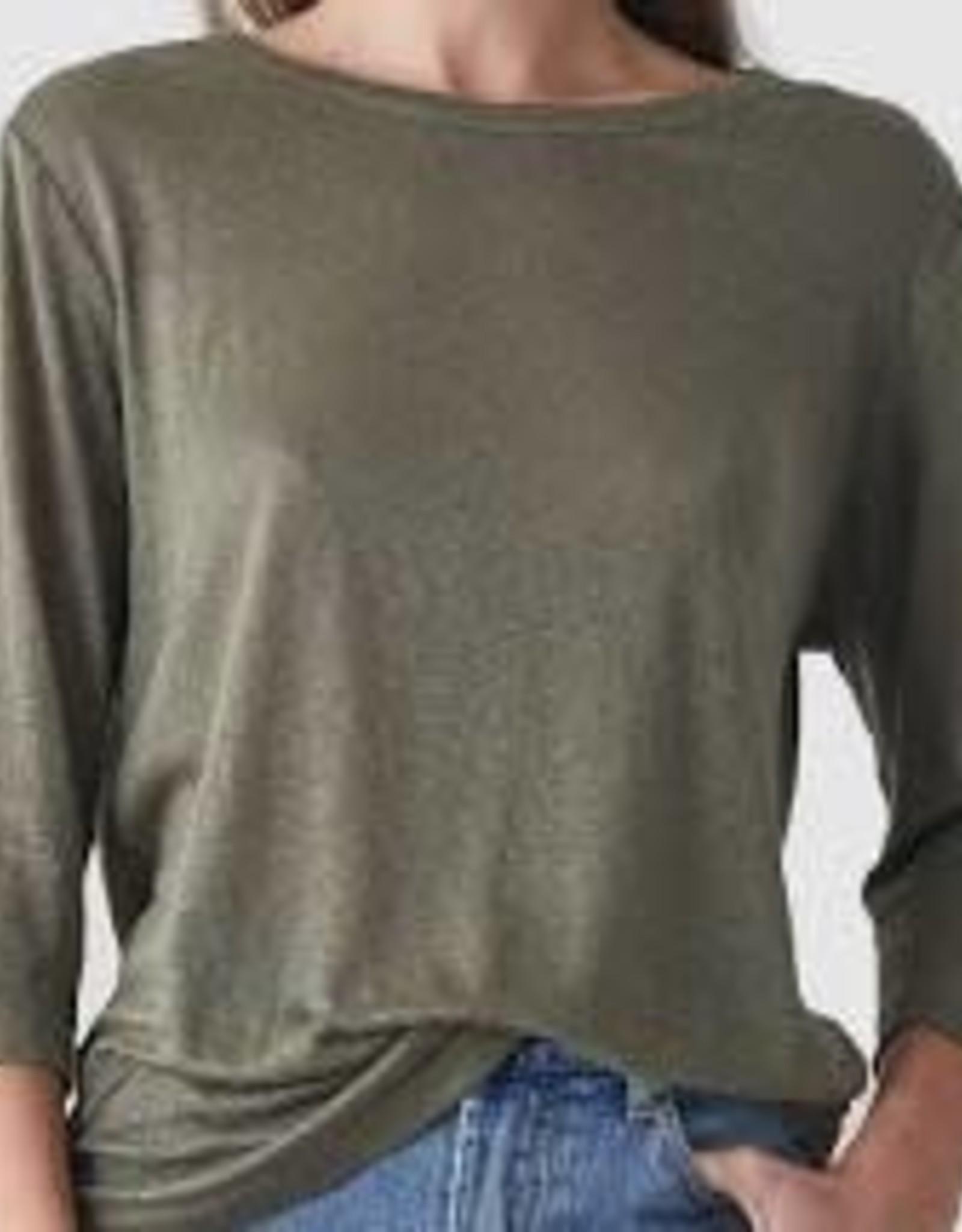 Bronte Linen T-Shirt Khaki LARGE