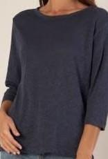 Bronte Linen T-Shirt Navy SMALL