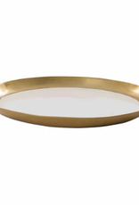 White Enamel Oval Tray gold