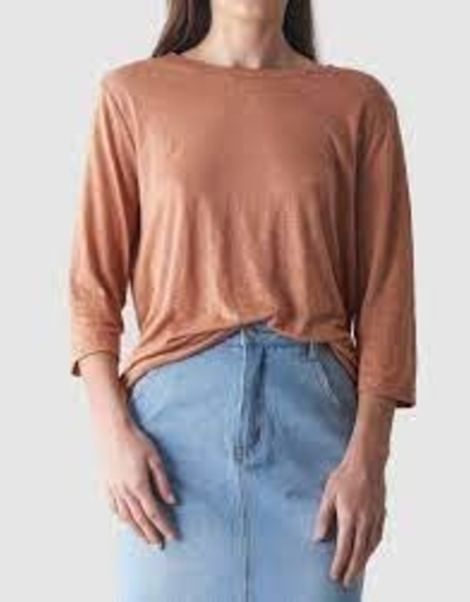 Bronte Linen T-Shirt Rust LARGE
