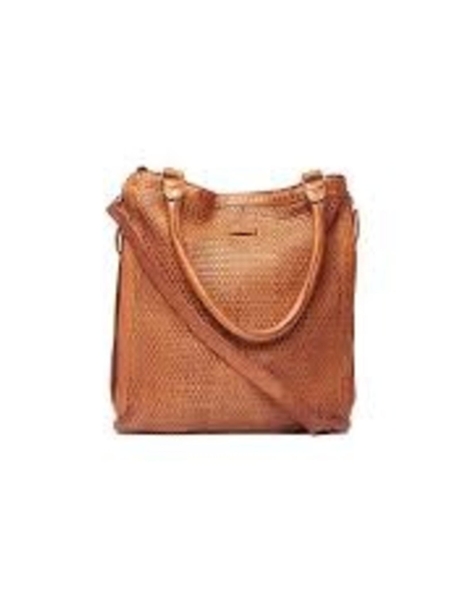 Magnolia woven shoulder sling bag - Cognac