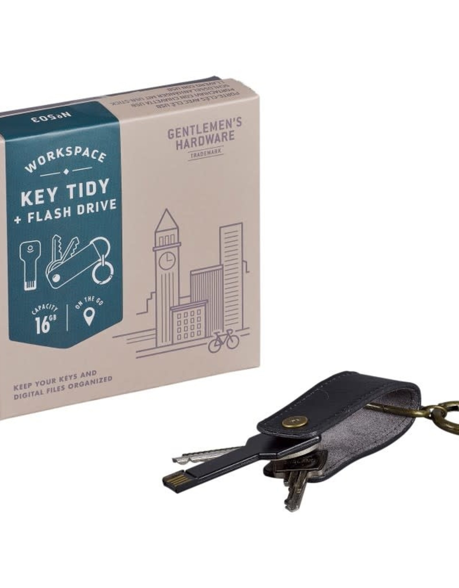 Gentlemen's Hardware Key Tidy with USB Flash Drive - 16GB