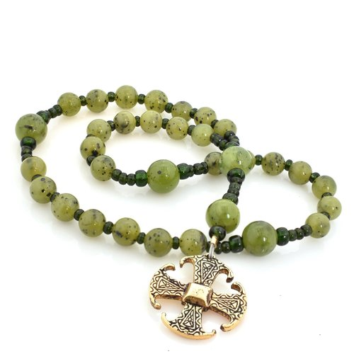 FULL CIRCLE BEADS ROSARY ANGLICAN CANTERBURY CROSS CANADIAN JADE by FULL CIRCLE BEADS