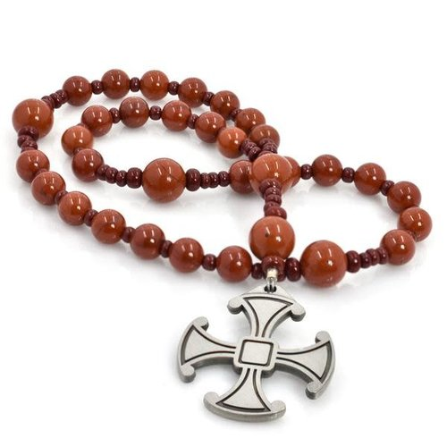 FULL CIRCLE BEADS ROSARY ANGLICAN CANTERBURY CROSS RED JASPER by FULL CIRCLE BEADS