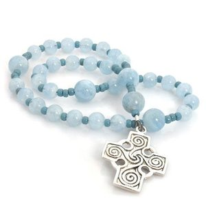 Anglican Rosary Celtic Swirls Sterling Cross Aquamarine by Full Circle Beads