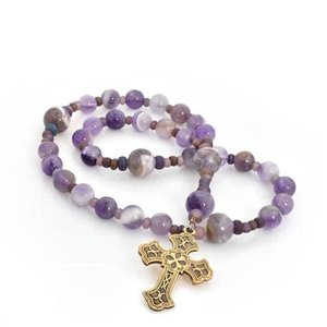 FULL CIRCLE BEADS ANGLICAN ROSARY FLEURY CROSS DOGTOOTH AMETHYST by FULL CIRCLE BEADS