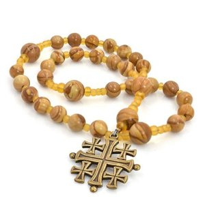 FULL CIRCLE BEADS ROSARY ANGLICAN JERUSALEM CROSS WOOD JASPER by FULL CIRCLE BEADS
