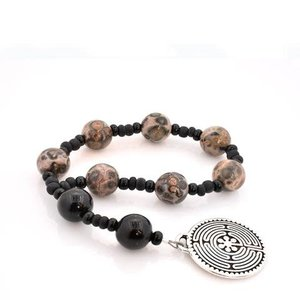 FULL CIRCLE BEADS ROSARY ANGLICAN CHAPLET LABYRINTH LEOPARD JASPER & ONYX by FULL CIRCLE BEADS