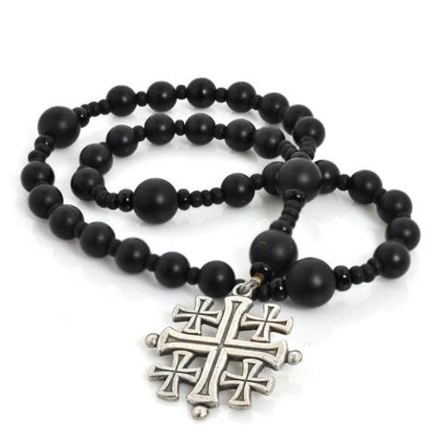 ROSARY ANGLICAN JERUSALEM CROSS ONYX by FULL CIRCLE BEADS