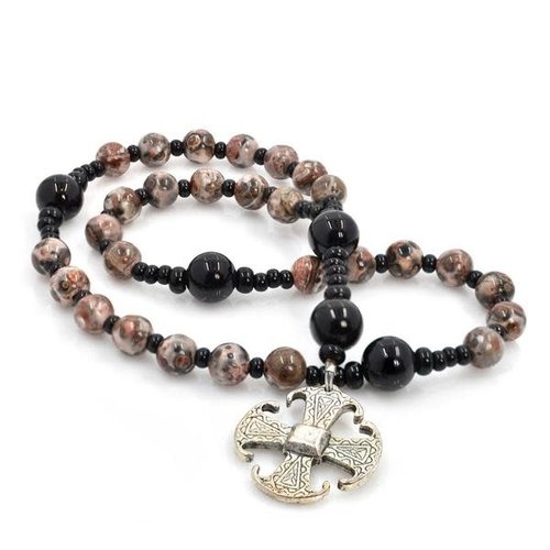 FULL CIRCLE BEADS ROSARY ANGLICAN CANTERBURY CROSS LEOPARD JASPER by FULL CIRCLE BEADS