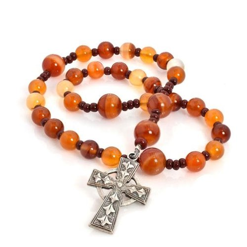 FULL CIRCLE BEADS ROSARY ANGLICAN CELTIC CROSS CARNELIAN by FULL CIRCLE BEADS