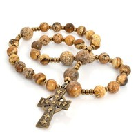 ROSARY ANGLICAN Celtic Cross Picture Jasper by FULL CIRCLE BEADS
