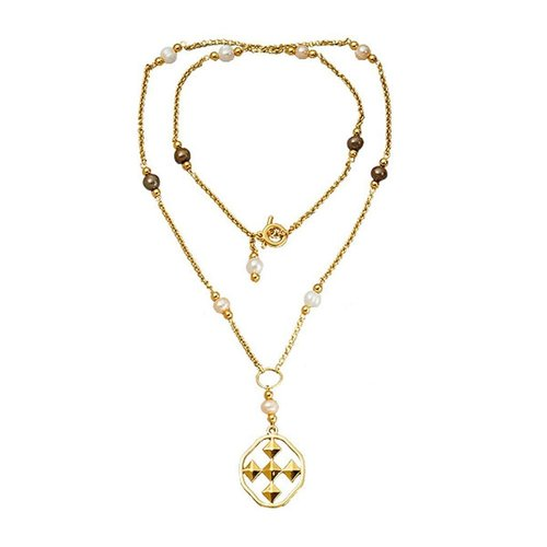 """NECKLACE 36"""" LARIAT 18K GOLD & PEARLS SHIELD OF FAITH by GRACEWEAR"""