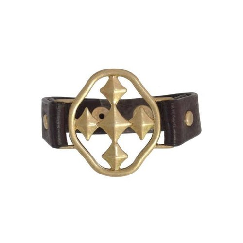 "BRACELET LEATHER BROWN 1.5"" GOLD SHIELD OF FAITH by GRACEWEAR"