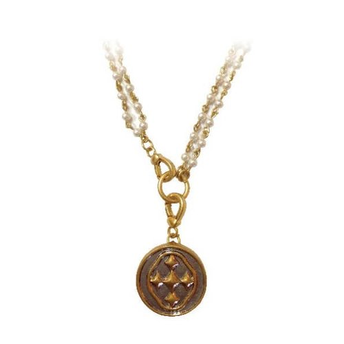 "NECKLACE ""ROSARY BEAD"" PEARL 38.5"" MATTE GOLD SHIELD OF FAITH MEDALLION by GRACEWEAR"