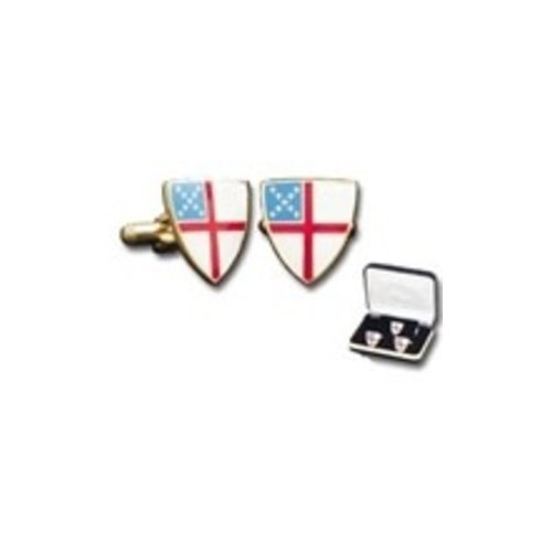 EPISCOPAL SHIELD CUFF LINK SET WITH TIE TACK