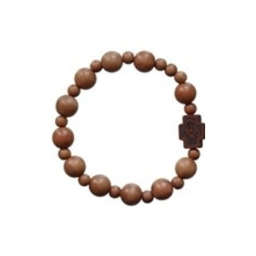 ROSARY BRACELET, LIGHT JUJUBE WOOD