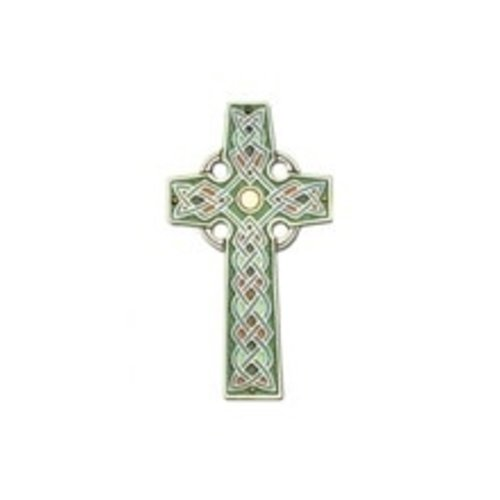 CROSS, CELTIC WALL CROSS WITH COLOR INLAY