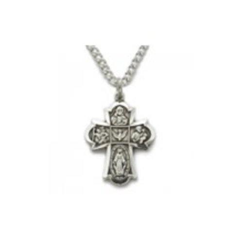 STERLING SILVER 4-WAY MEDAL CROSS NECKLACE