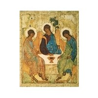 "HOLY TRINITY ICON BY RUBLEV  - SMALL 5"" X 6"""