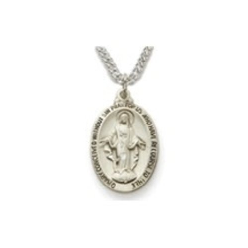 "MEDAL - MARY MIRACULOUS, STERLING SILVER, SATIN FINISH (20"" CHAIN)"