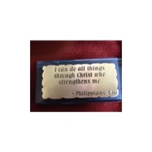 """""""I CAN DO ALL THINGS"""" GLASS and PEWTER PAPERWEIGHT"""