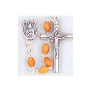 CATHOLIC ROSARY OF OLIVE WOOD OVAL BEADS