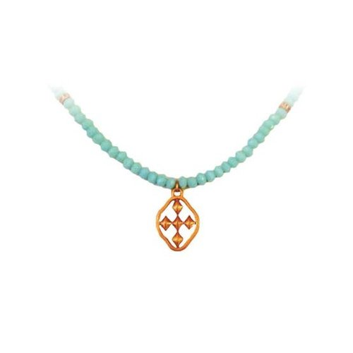 NECKLACE TURQUOISE FACETED WORN GOLD by GRACEWEAR