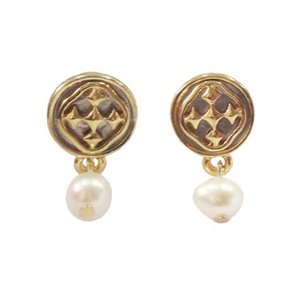 GRACEWEAR EARRINGS LINKED MEDALLION POST WITH PEARL by GRACEWEAR