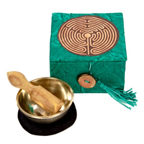 "CHIME BOWL MINI 2"" GARDEN LABYRINTH WITH STRIKER"