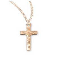 "NECKLACE TINY CRUCIFIX GOLD OVER SILVER 16"" CHAIN"