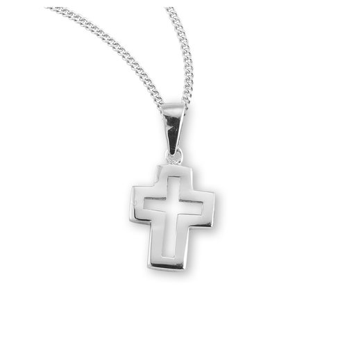 """NECKLACE CUT OUT CROSS STERLING SILVER 18"""" CHAIN"""