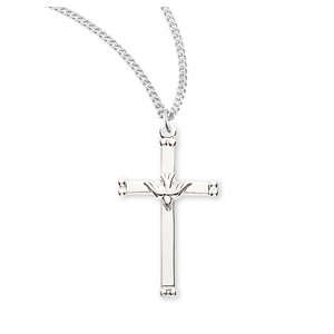 """NECKLACE HOLY SPIRIT CROSS STERLING SILVER 18"""" CHAIN"""