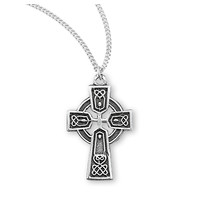 "NECKLACE TINY CELTIC CROSS STERLING SILVER 18"" CHAIN"