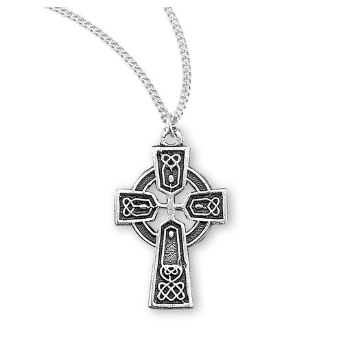 """NECKLACE TINY CELTIC CROSS STERLING SILVER 18"""" CHAIN"""
