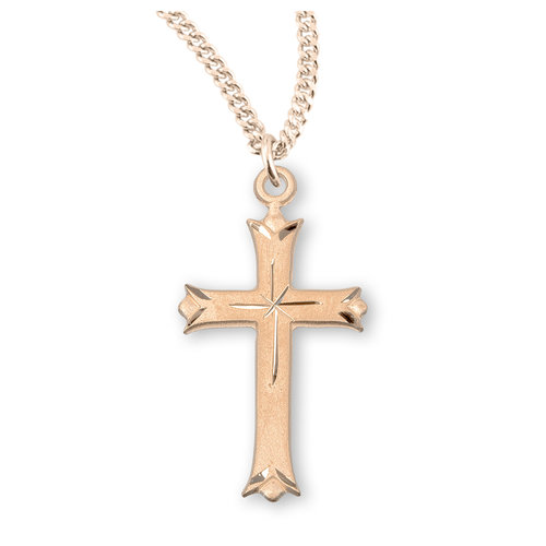 "NECKLACE CROSS ETCHED 1.25"" GOLD OVER SILVER 18"""