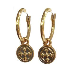 GRACEWEAR EARRINGS SMALL HOOP GOLD LINKED MEDALLION by GRACEWEAR