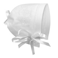 BABY BONNET WITH EMBROIDERED CROSS, STRAIGHT EDGE