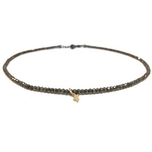 NECKLACE LITTLE LUXE CROSS ON PYRITE by ERIN GRAY