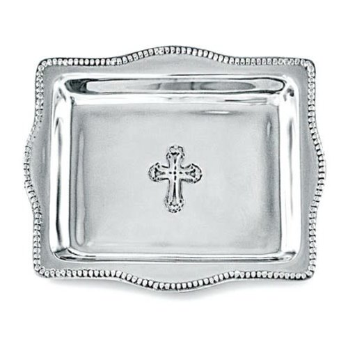 Beatriz Ball TRAY SILVER CROSS 4X6 RECTANGLE