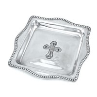 Beatriz Ball TRAY SILVER CROSS 4X4 SQUARE