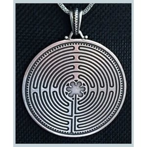 """Labyrinth Pendant 2"""" pewter 2-sided 24"""" chain"""