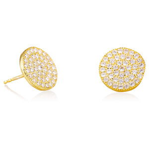 EARRINGS STUD FLAT DISC PAVE CZ ELYSSA BASS