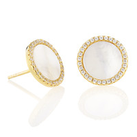 EARRINGS CIRCLE STUD MOTHER OF PEARL CZ RIM ELYSSA BASS