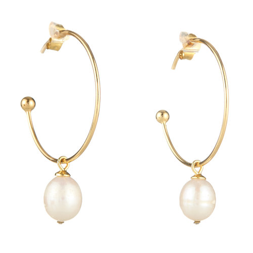 EARRINGS HOOPS WITH DANGLING PEARL ELYSSA BASS