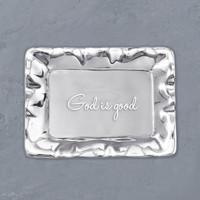 "Beatriz Ball TRAY SILVER VENTO Engraved ""God is Good"""