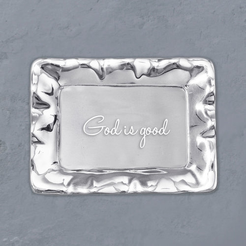 "Beatriz Ball TRAY SILVER VENTO Engraved ""God is Good"""