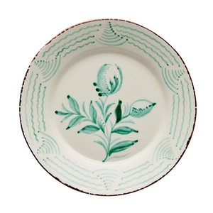 ABIGAILS DINNER PLATE GREEN 2 FLOWERS
